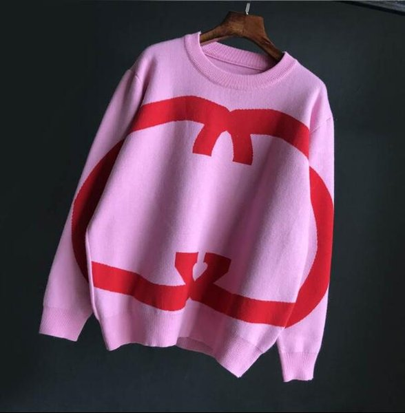 2019 Europa marca de lujo de las mujeres de punto jerseys de lujo diseñador de lujo suéter rosado mujer O cuello fácil sudadera marca de moda