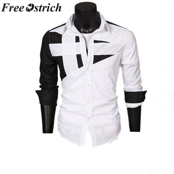 FREE OSTRICH 2019 New Fashion Brand Camisa Masculina Long Sleeve Shirt Men Korean Slim Design Formal Casual Male Dress Shirt