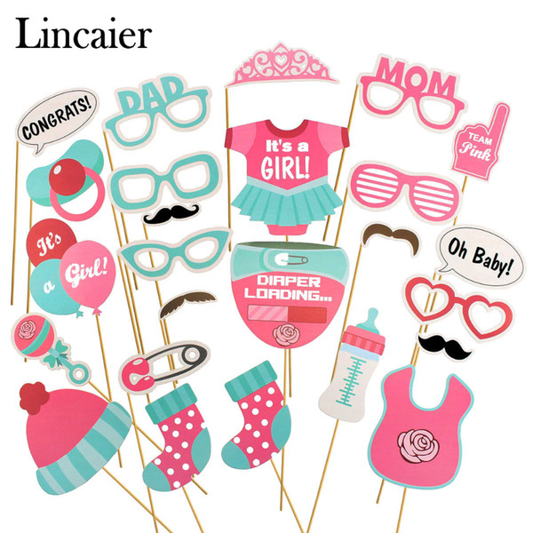 Lincaier 25Pcs Baby Shower Photobooth Props Its a Boy Girl Party Decorations Supplies Games Babyshower Gender Reveal Oh Baby