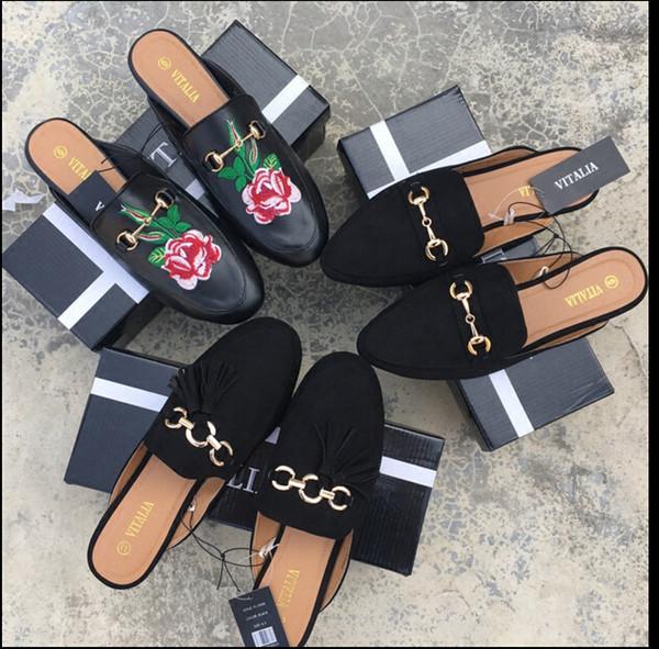 2019Fashion Damen weibliche Damen Schuhe Sandalen Flache Absätze Schuh Lässige Leder Hausschuhe Mädchensandalen bedeckte Zehen Nackter Knöchel Pantoffel