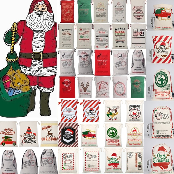 top popular 36 styles Christmas Canvas drawstring bag Drawstring Bag Reindeers Santa Sack Bags Drawstring Canvas Present Bag Xmas bags Decorations 2019