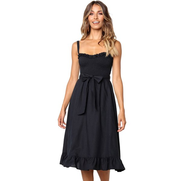 Best selling European and American women's dress pleated ruffled lace tight sling one word collar sleeveless high waist long dress #611016