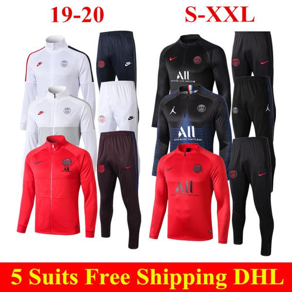19 20 Paris kit veste blanche Thai Qualité 2019 2020 Mbappe football uniforme ICARDI CAVANI rouge à manches longues psg fermeture éclair Survêtement Loisirs