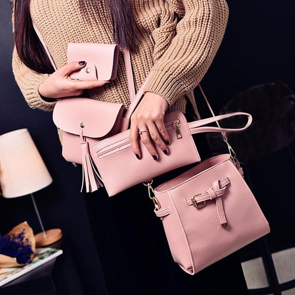 Женщины Четыре Комплекта Модные Сумки На Ремне Сумки Четыре Части Сумка Твердые Кисточкой Высокая Емкость Розовый Сумка Кошельки Pack #S