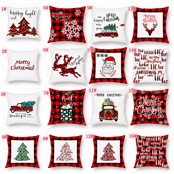 Xmas Pillow Case Plaid Merry Christmas Cushion Covers Christmas Tree Deer Truck Cushion Home Party favor gift Decorative FFA3319
