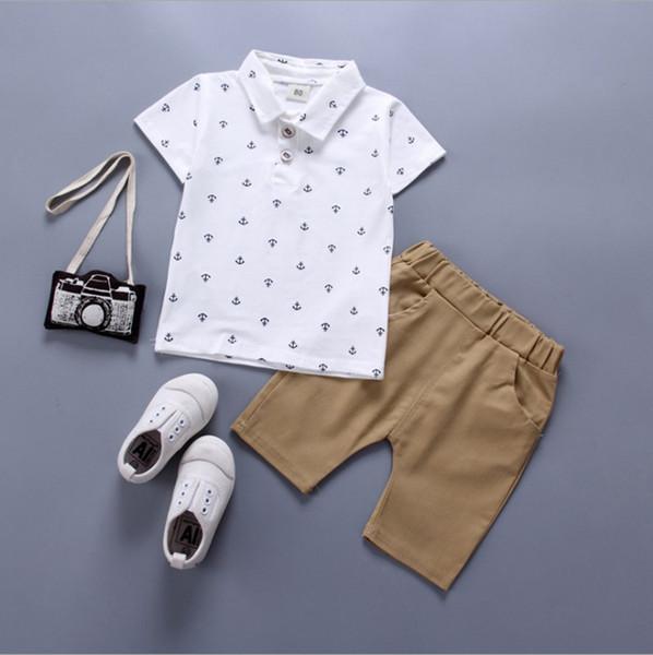 2019 roupas menino Set Conjuntos de Roupas de verão camisa polo + shorts calças 2 pcs set para o menino do bebê Barco Âncora Impresso Terno das Crianças
