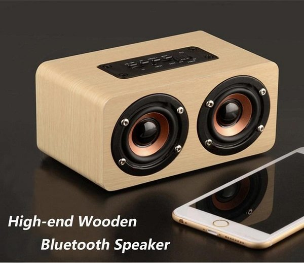 DHL W7 Wooden bluetooth speaker dual speaker support micro sd card TF card Speaker size W150*D85*H75mm