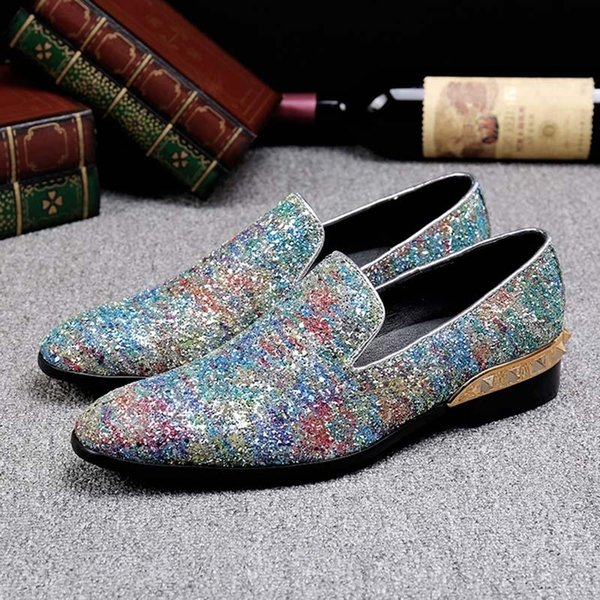 2018 Erkekler Glitter Ayakkabı Yeni Erkek Moda Günlük Flats Erkekler Tasarımcı Elbise Ayakkabı loafer'lar Erkekler Ayakkabı