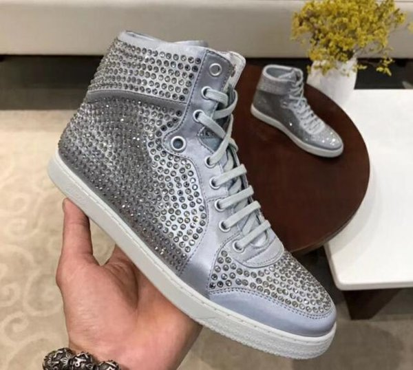 Diamond boots luxury Designer Men shoes Leather crystal woman Sports shoes platform Fashion pcv Thick bottom Alphabetic Travel Shoes s5