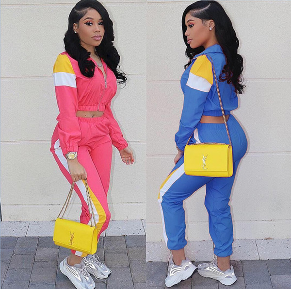 New Women Casual Tracksuits Colors Patchwork Long Sleeve Cardigan and Long Pants Two Piece Sets Sportwear Jogger Suits Outfit P679