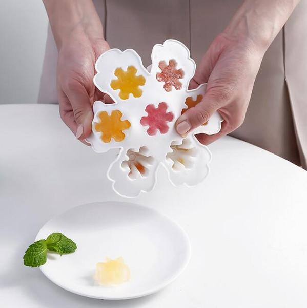 7 grids snowflake ice cream molds food grade reusable white plastic DIY frozen ice cream pop molds ice cream tubs tray