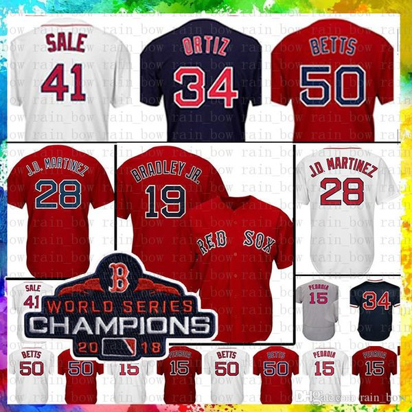 5f9ce4c60 Boston Red Sox Baseball Jersey 50 Mookie Betts 28 JD Martinez 34 David  Ortiz 15 Dustin Pedroia 16 Andrew Benintendi 9 Williams 41 Chris Sale