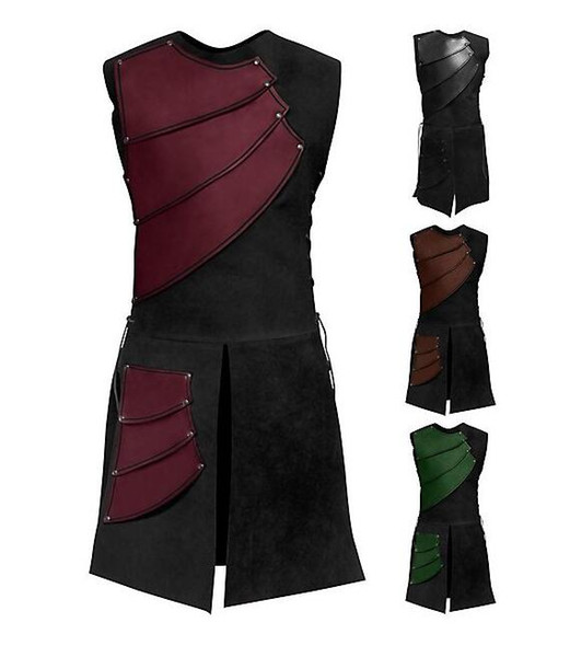 Adult Men Medieval Archer Larp Knight Hero Costume Warrior Black Armor Outfit Roman Solider Gear Coat Clothing M-3XL cosplay