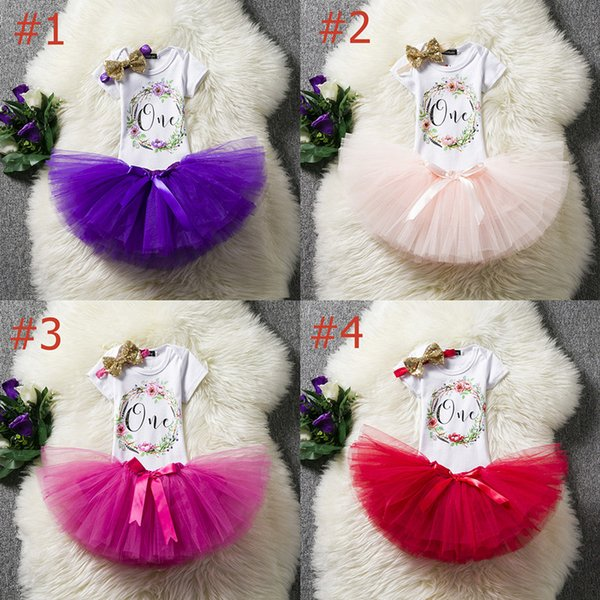 Baby Girls One Year Birthday Sets White Rompers & TUTU Skirts &HeadBand 3PCS Infant Girl Bubble Princess Dress Baby Summer Outfits Ins