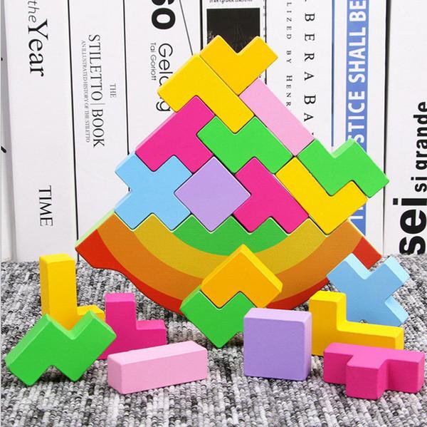 Tetris Balançando E Empilhando Altura Para Crianças Arco-Íris Eco Friendly De Madeira Jigsaw Puzzle Brinquedos Hot Vender Blocos de Construção de 10 ht M1