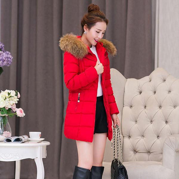 Inverno Grande gola de pele Mid-comprimento grossa jaqueta jaqueta de algodão acolchoado roupa New Style tamanho grande vestido de algodão acolchoado Coréia