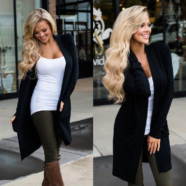 Kadın Coat Tops Uzun Kollu Rüzgarlık Ceket Kollu Cep Düz Renk Ceket Ince Tip Uzun Hırka 4