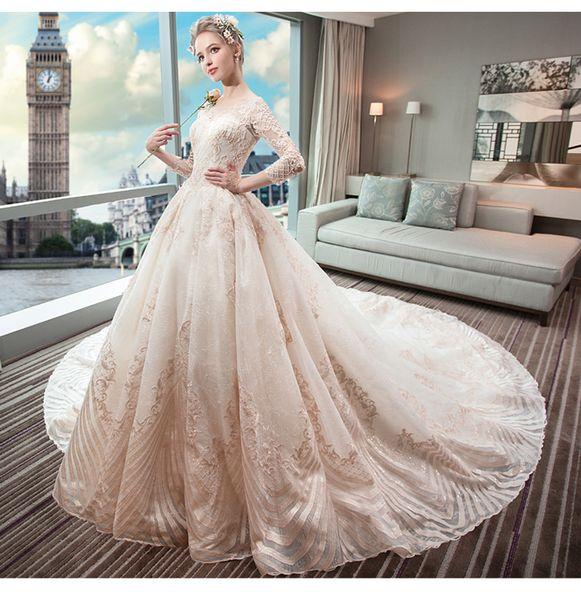 Light Wedding Garment New Luxury Palace Dress Hepburn in Autumn