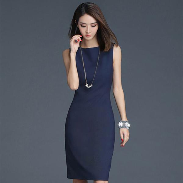 Soperwillton 2019 Elegant Office Dress Summer Dresses Women O-neck Wear To Work Clothes Bodycon Dress Lady Work Vestidos #bd728 Y19051102