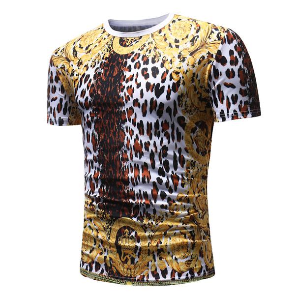 Männlich 2019 Marke Kurzarm 3d Leopardenmuster T-shirt Oansatz Dünne Männer T-shirt Tops Mode Herren T-shirt T-shirts Xxxl
