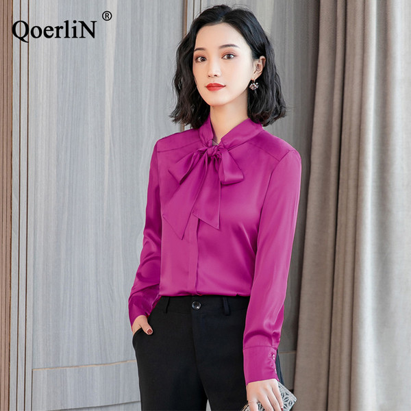 QoerliN Elegant Bowtie Blouse Women Fashion Long Sleeve Slim Casual Shirts Female Plus Size Tops Solid Green Blouse Girls Blusas