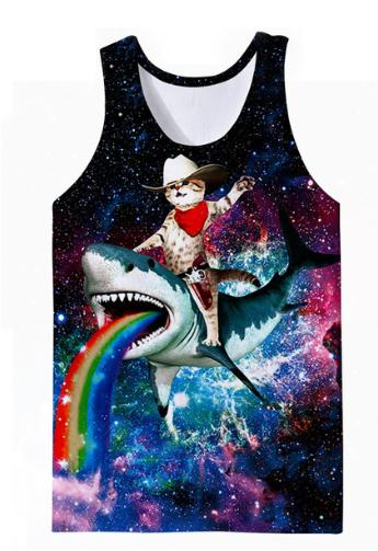 Newest Animal Galaxy Dolphin &Cat Printed Tops Sleeveless Hollow Out O Neck Casual Tank 3d Vest Bodybuilding Fitness Sporting Shirts Z25