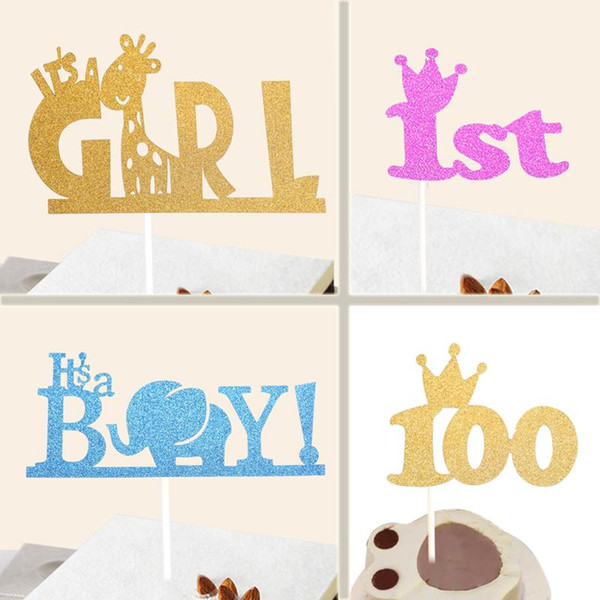 Wholesale-Creative Kids Happy Birthday Cupcake Cake Topper Cake Flags Its A Girl &Boy 1st Crown Baby Shower Birthday Festival Party Decor