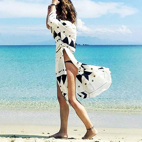 Traje de baño de manga 4/3 de verano para mujer Cárdigan largo Cárdigan Ropa de playa Traje de baño elegante y sexy Bikini de encaje Floral Vestido largo largo de playa