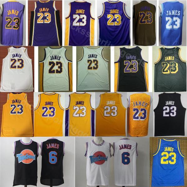 super popular eb624 37bae 2019 College Men 23 LeBron James Jersey City Edition Tune Squad 6 LeBron  James Basketball Jerseys Purple Yellow White Black Green Blue From ...