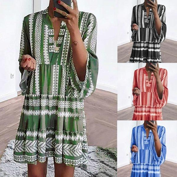 2019 New Arrival Women Printed Dresses Fashion Summer Autumn Long Sleeves Designer Dresses Large Size Tops Womens Clothes Size S-5XL
