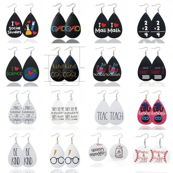personality leather earrings for women creative english letters glasses print teardrop earrings party jewelry christmas presents