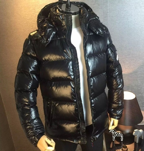 2019 MonclerMen'S The Jacket Outerwear Clothing Down Jacket Maya Parkas Black Shainy Brief Paragraph Coat Hooded Outdoor Clothing New Style From