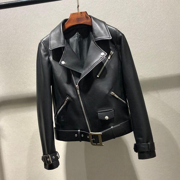 women's mid-and long-style sheepskin belt single-breasted body-shaping jacket coat