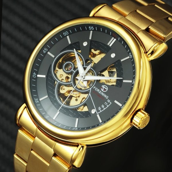 Forsining 2019 Novo Relógio Mecânico Automático Dos Homens De Metal Dourado Strap Skeleton Winner Mens Relógios Top Marca de Luxo Com Jóia Y19051503
