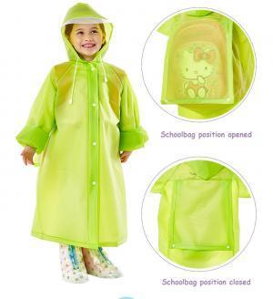 School Bag Hooded Raincoat 4 Colors EVA Rain Cloak Kids Children Toddlers Student Waterproof Poncho Rainwear OOA6168