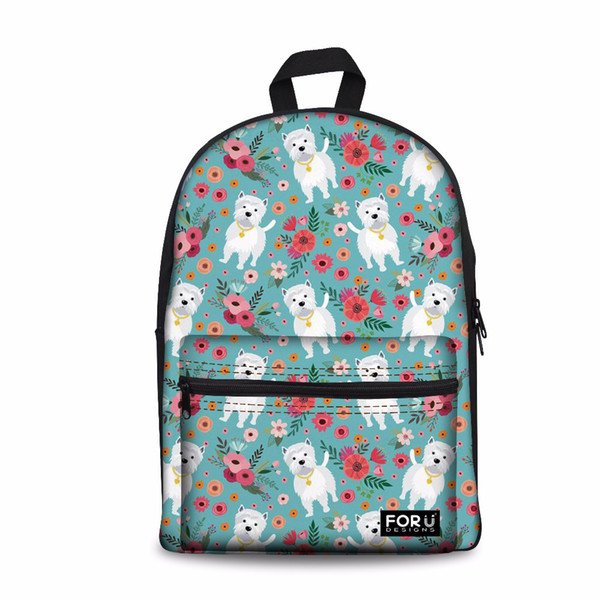 Designer-Customized Girls School Bags Senior High School Women Backpack Westie Dog Pattern Laptop Schoolbag for Kids Bags Bookbag Cute