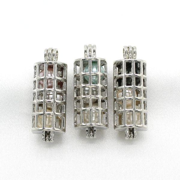5 pcs oco cor de prata cilindro gaiola de pérolas pingentes jóias medalhão perfume difusor de óleo essencial gaiolas colar