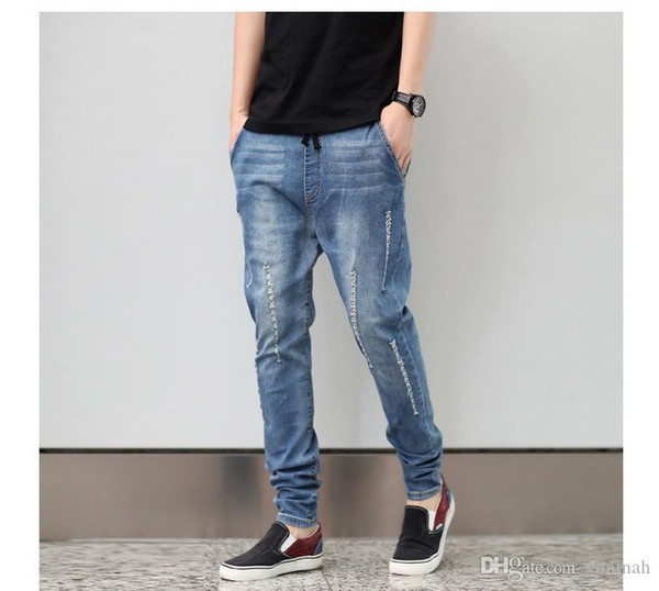 Wholesale free shipping fashion new arrive men pencil harem cotton jeans hole low crottch elastic plus size plus size men pencil jeans