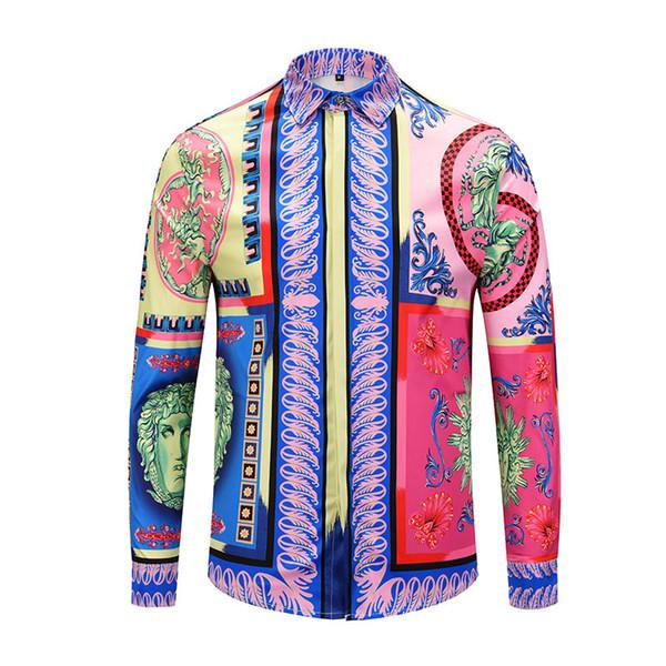 2019 The latest fashion trend Slim men's shirt men's long-sleeved retro color print dress shirt men's casual cotton Medusa shirt M-2XL