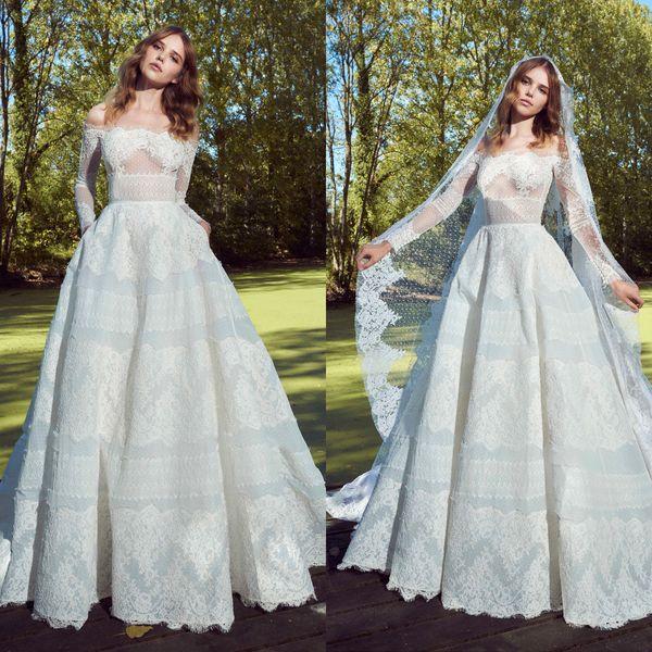 Princess zuhair murad wedding dresses runway long sleeve lace summer garden wedding gowns sexy off the shoulder elegant real image brides