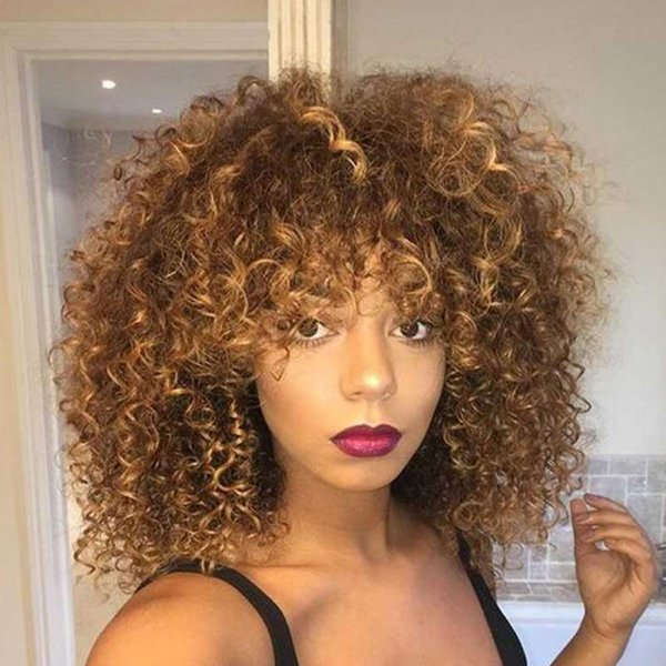 Mixed Brown Blonde Hair Color Fiber High Synthetic Hair Synthetic Short Afro Kinky Curly Wigs For Black Women Hair Bun Donut Ring Donut Bun Ring
