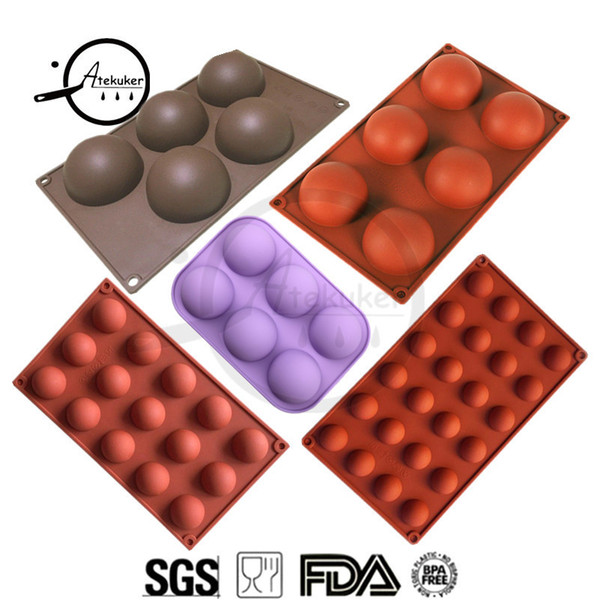 Atekuker 5pcs/set Half Ball Shape Silicone Mold For Baking Bakeware Silicone Form Mold For Chocolate Candy Mousse Cake Moulds Q190430
