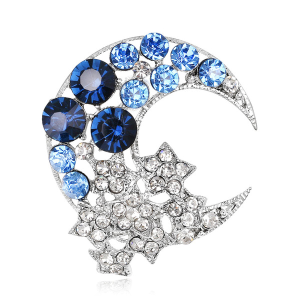 High Quality Moon and Star Shape Crystal Brooces Pins Elegant Rhinestone Buckle Broche Women Scarf Sweater Pins Purple Blue Colors Jewelry