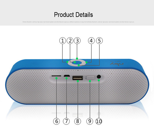 NBY-18 New 6W Mini Wireless Bluetooth Speaker 3d Stereo Subwoofer Audio Box Hifi Portable Speakers for Phone FM Boombox Music with Mic BH338