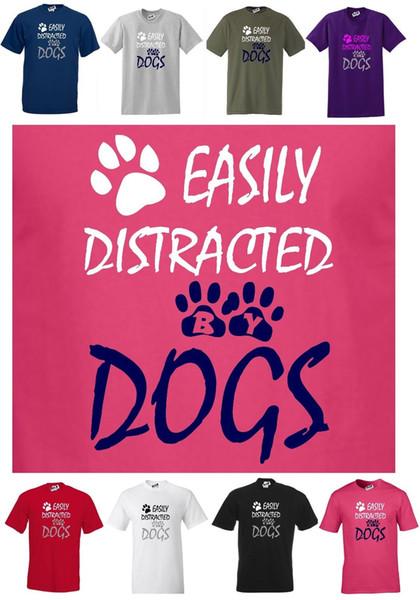 Lindo Engraçado DOG T-shirt, FACILMENTE DISTRADO POR CÃES Corte Regular T-shirt S-5XL Das Mulheres Dos Homens Unisex Moda tshirt Frete Grátis preto