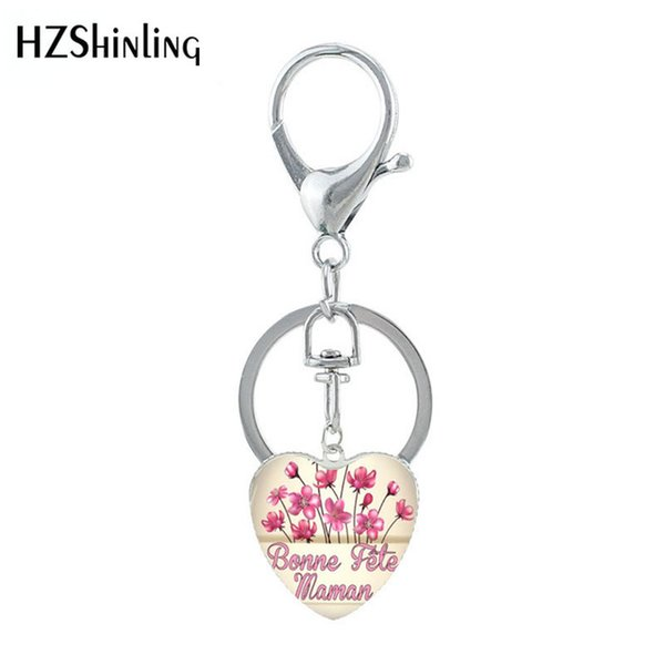 2019 new coming bonne fete maman heart shaped key chain handcraft art works love maman glass cabochon keyring gifts for women