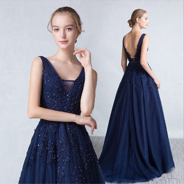 Graceful Pink blue Long Evening Dresses Prom Dresses lace up deep V Neck Beaded Formal Evening Gowns Special Occasion Dresses 2019