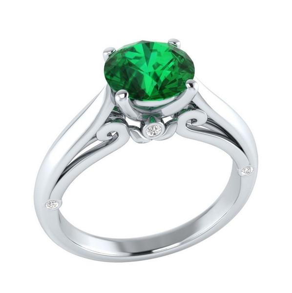 bague or zirconium vert