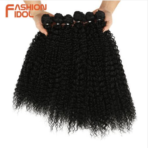 Afro Kinky Curly Synthetic Hair Extensions Bundles Ombre 6Pieces Heat Resistant Weave Hair Bundles For Black Women