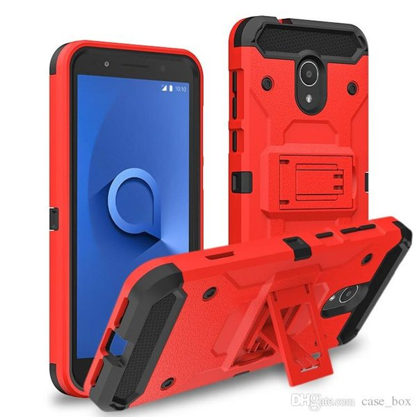 Tough Armor Defender Hybrid Kickstand Rugged Case for Alcatel A30 Fierce/Walters Fierce 4/Allura/POP4 Plus Acquire Cover without Belt Clip
